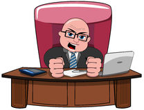 Geschäftsmann-Bald Cartoon Angry-Chef Desk Lizenzfreie Stockfotografie