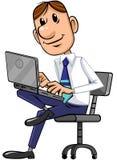 Geschäftsmann benutzt Laptop vektor abbildung