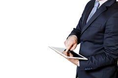 Geschäftsmann berührt die Tablette mit dem Finger Stockfotografie