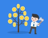 Geschäftsmann bereitet vor sich, einen Geldbaum mit Axt, dumm und GR zu schneiden lizenzfreie abbildung