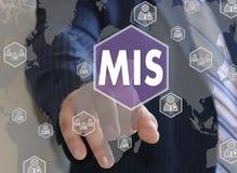 Geschäftsmann betätigt einen Knopf MIS, Führungssystem Lizenzfreies Stockbild