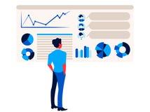 Geschäftsmann betrachtet Bericht infographics auf dem Bürodiagrammbrettdiagramm und -diagramm vektor abbildung