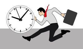 Geschäftsmann-Betrieb und eine Stempeluhr stock abbildung
