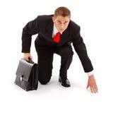 Geschäftsmann betriebsbereit zu gehen Lizenzfreies Stockfoto