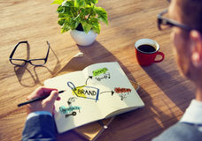 Geschäftsmann-Brainstorming About Branding-Strategie Stockbilder