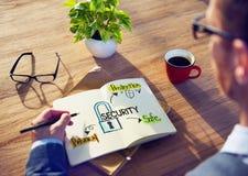Geschäftsmann-Brainstorming About Security-System Stockbild