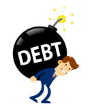Geschäftsmann Carry Huge Debt Time Bomb stock abbildung