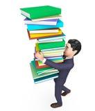Geschäftsmann-Carrying Books Represents-Geschäftsunternehmens- und Studieren Lizenzfreies Stockbild