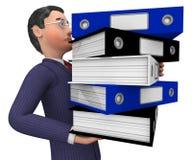 Geschäftsmann-Carrying Files Represents-Mappe organisieren und antworten Stockfotografie