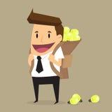Geschäftsmann Carrying Idea Bulb Stockbild
