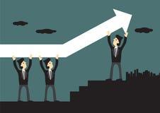 Geschäftsmann-Carrying Up Arrow-Vektor-Illustration Lizenzfreie Stockfotografie