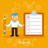 Geschäftsmann Cartoon Character mit Checkliste Stockfotografie