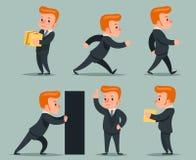 Geschäftsmann Character Different Positions und Aktions-Ikonen eingestellte Retro- Karikatur-Design-Vektor-Illustration Lizenzfreie Stockfotografie