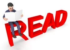 Geschäftsmann-Character Indicates Executive-Lesung und Wiedergabe der Bildungs-3d lizenzfreie abbildung