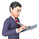 Geschäftsmann-Character Represents Progress-Berichts-und -analyse-3d Wiedergabe vektor abbildung
