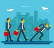 Geschäftsmann-Characters Standing Walking-Betrieb Lizenzfreie Stockfotografie