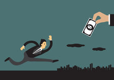Geschäftsmann-Chasing Money Concept-Vektor-Illustration Lizenzfreies Stockbild