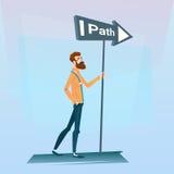 Geschäftsmann-Choose Path Way-Zeichen-Brett-Straße lizenzfreie abbildung