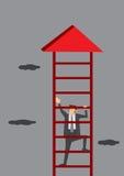 Geschäftsmann Climbing Corporate Ladder Lizenzfreie Stockfotografie