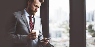 Geschäftsmann-Coffee Break Working-Arbeitsplatz-Konzept Lizenzfreies Stockbild