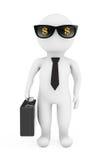 Geschäftsmann 3d in der Sonnenbrille mit Dollar-Zeichen Wiedergabe 3d Stockfotos