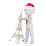 Geschäftsmann 3d in einer Bindung, die den Eiffelturm kippt lizenzfreie abbildung