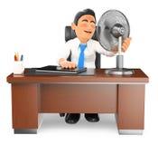 Geschäftsmann 3D erhitzt in seinem Büro mit einem Fan Lizenzfreie Stockfotografie