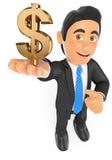 Geschäftsmann 3D mit einem Golddollarsymbol Stockfotografie