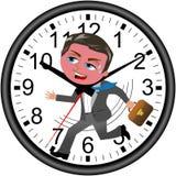 Geschäftsmann Deadline Clock Running lokalisierte Stockbilder