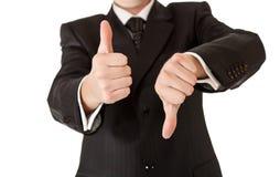 Geschäftsmann in den Klagedaumen oben Lizenzfreies Stockfoto