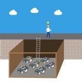 Geschäftsmann denken außerhalb des Kastenvektors Lizenzfreie Stockbilder