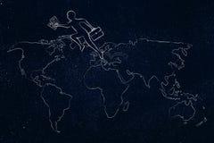 Geschäftsmann, der über Kontinenten auf Karte der Welt jumpying ist Stockbilder