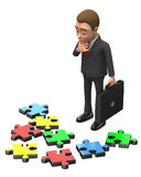 Geschäftsmann, der über Teilen des Puzzlespiels denkt Stockfotos