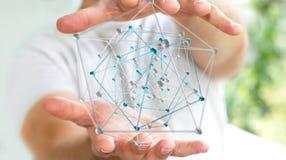 Geschäftsmann, der abstrakte Wiedergabe der Verbindungsschnittstelle 3D hält Stockbild
