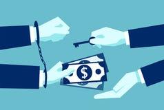Geschäftsmann, der als Ausgleich Geld der Freigabe gibt lizenzfreie abbildung