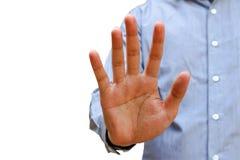 Geschäftsmann, der Alt oder Halt mit der Hand, lokalisiert auf weißem b gestikuliert Lizenzfreies Stockfoto