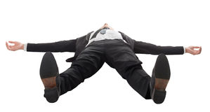 Geschäftsmann, der auf dem Boden liegt stockbilder