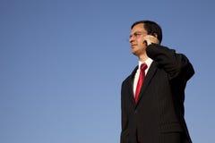 Geschäftsmann, der auf dem Mobiltelefon spricht lizenzfreie stockfotos