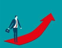 Geschäftsmann, der auf den roten Pfeil steigt Konzeptgeschäft illustra Stockfotografie