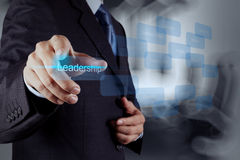 Geschäftsmann, der auf Führungsfähigkeit zeigt Lizenzfreie Stockbilder