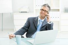 Geschäftsmann, der auf Handy spricht Lizenzfreies Stockbild