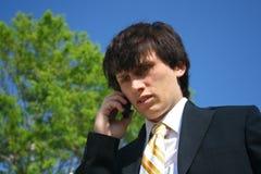 Geschäftsmann, der auf Handy spricht Lizenzfreie Stockfotos