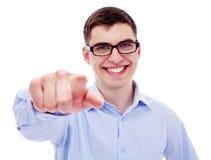 Geschäftsmann, der auf Kamera zeigt Stockbild