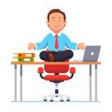 Geschäftsmann, der auf Schreibtisch in der Yogahaltung sitzt vektor abbildung