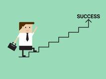 Geschäftsmann, der auf Treppe zum Erfolg geht lizenzfreie abbildung