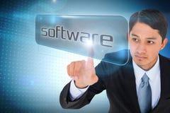 Geschäftsmann, der auf Wort-Software zeigt Stockbilder