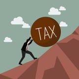 Geschäftsmann, der aufwärts schwere Steuer drückt Stockbilder