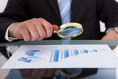 Geschäftsmann, der Balkendiagramm durch Lupe analysiert Lizenzfreie Stockfotos