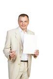 Geschäftsmann, der Bereich für Zeichen zeigt Lizenzfreies Stockbild