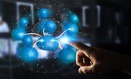 Geschäftsmann, der blaue Wiedergabe des Ikonensozialen netzes 3D anschließt Stockfotografie